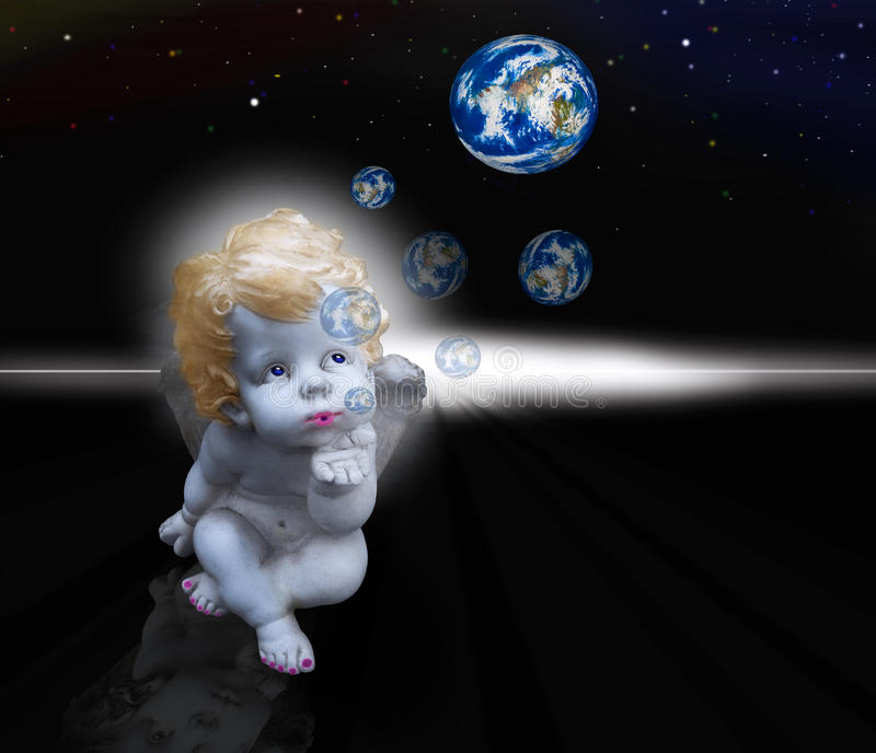 Photo Art - Angel makes bubbles stock image