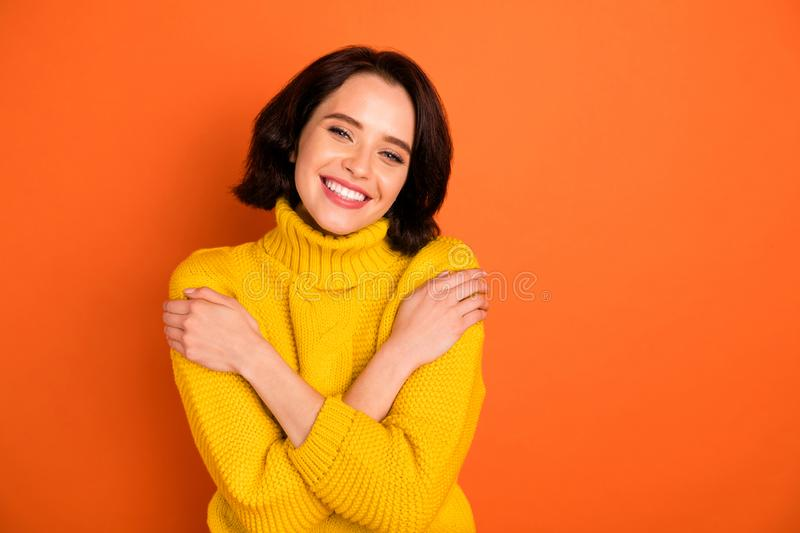 Photo of attractive beautiful nice cute charming trendy gorgeous casual girlfriend warmened with sweater feeling perfect stock image