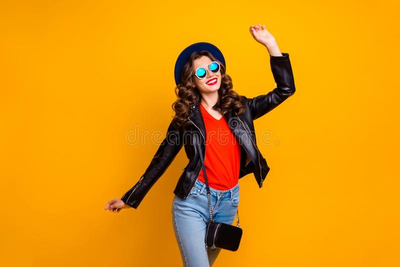 Photo of attractive lady walking down shopping center overjoyed by spring warm weather wear stylish outfit with shoulder. Photo of attractive lady walking down royalty free stock images