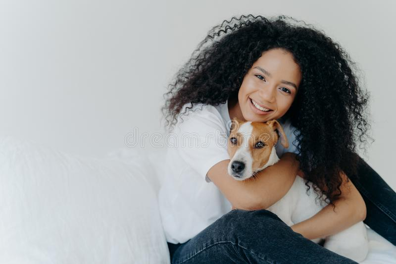 Photo of attractive young woman with Afro hircut, embraces with love dog, takes care of pet, smiles gently, wears casual clothing royalty free stock photography