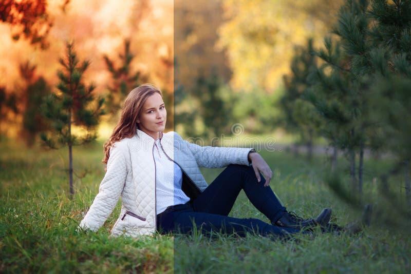 Photo avant et après le processus de retouche d'images Jeune femme 15 photo stock
