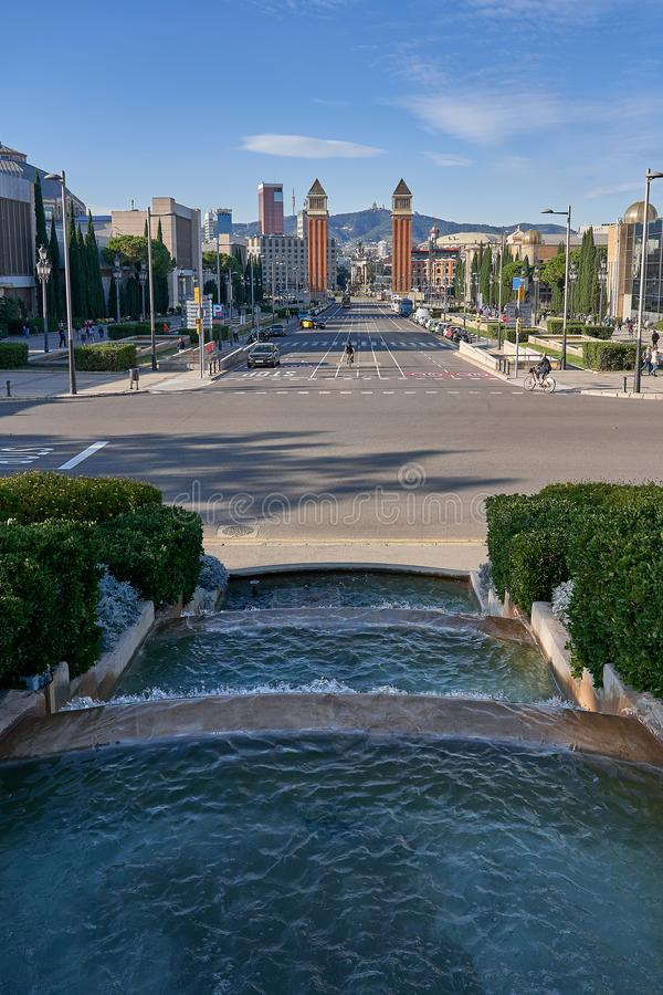 Photo of the Avenida Reina Maria Cristina in Barcelona square Spain taken on foot from the fountains of Montjuich. Catalonia, Spain stock images