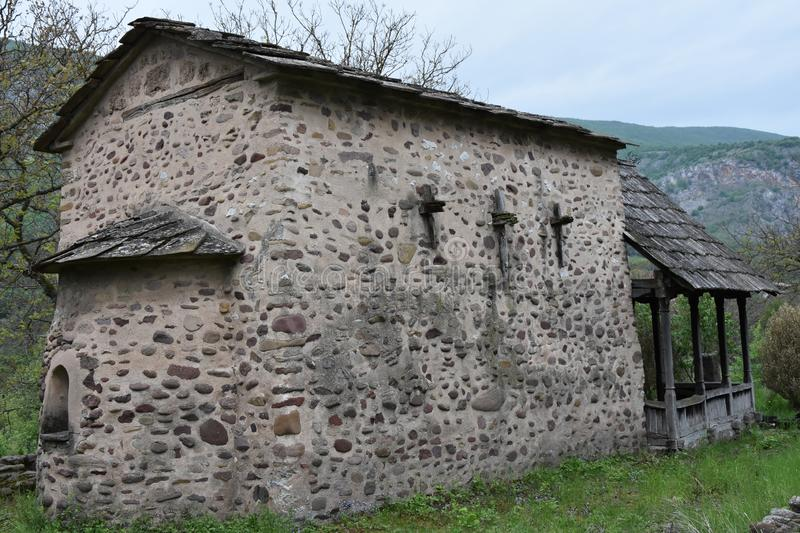 Back side of old church of St. Petka stock image