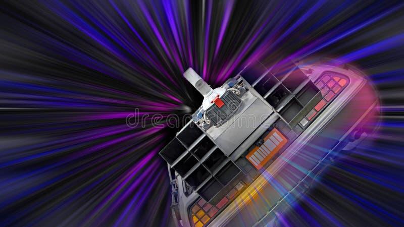 Delorean space travel time tunnel warp speed spaceship star trek zoom light stars galaxy royalty free illustration