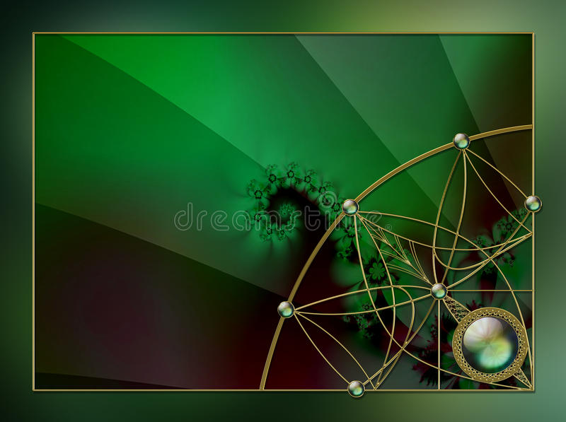Photo Background fractal layout design. Photoshop post-processed fractal flame with jewel and gold photobackground layout design royalty free stock images