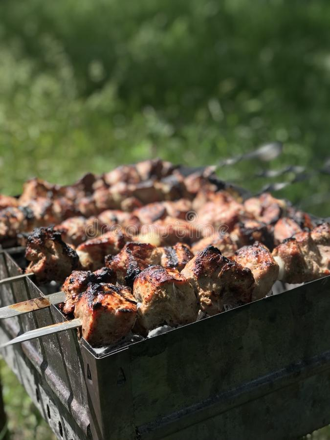 Photo of baked meat barbecue royalty free stock images