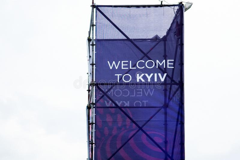 Photo of banner. Kiev, Ukraine - May 12, 2017: Photo of banner with invitation to Kiev of Eurovision Song Contest 2017 royalty free stock photography