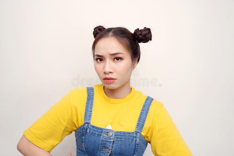 Photo beautiful amazing she her lady two buns red lipstick pomade what`s wrong with you facial expression isolated white royalty free stock photo