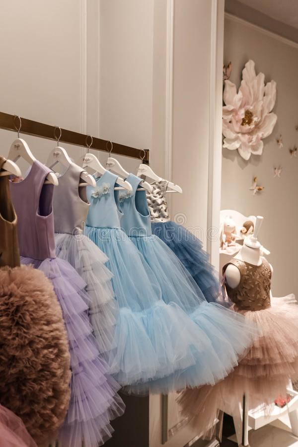 Beautiful dresses in decorated showroom royalty free stock photography