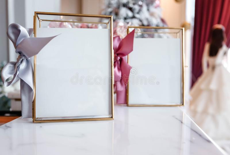 Beautiful frames and other Christmas details in decorated room stock photography