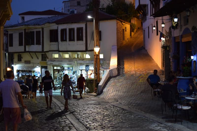 Beautiful little streets in Kavala, Greece stock image