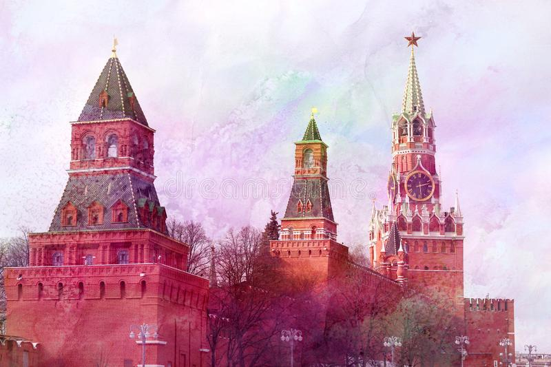 Photo of the beautiful Moscow Kremlin, the types of spring. Photo bright the beautiful landscape of the Moscow Kremlin in the spring royalty free stock photography