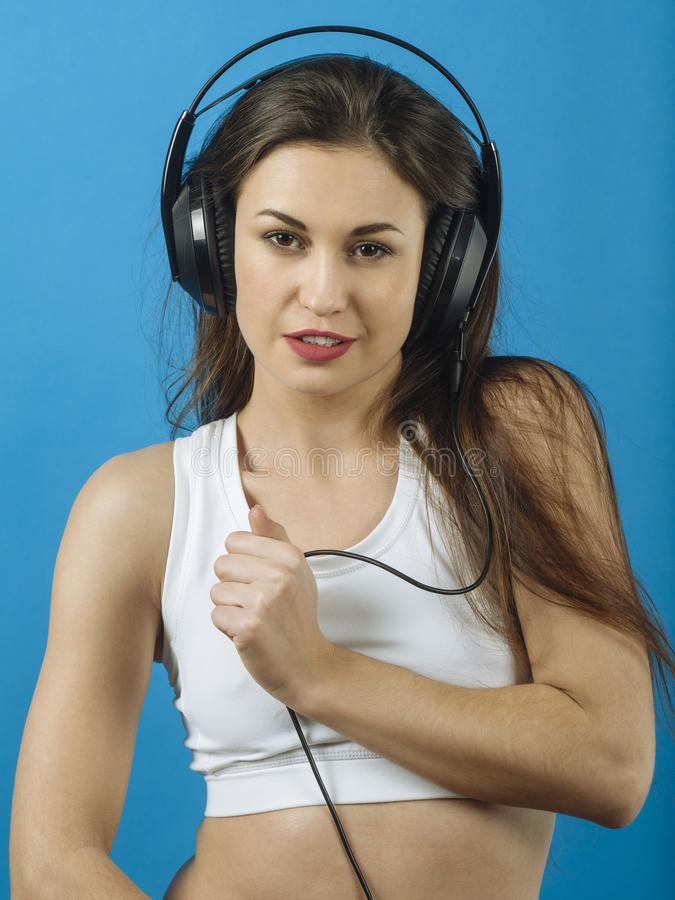 Download Woman listening to music stock image. Image of background - 110660875
