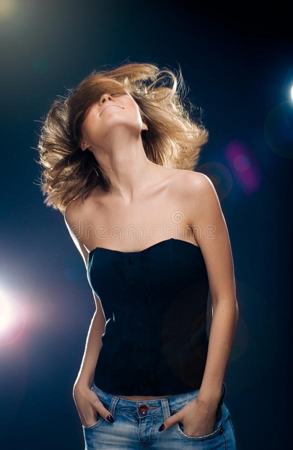 Photo of beautiful woman with magnificent hair. Fashion photo stock image