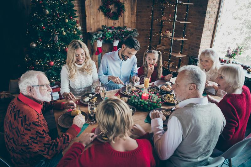 Photo of big large friendly family having rest relax together with grandparents grandchildren son and daughter couple. Husband wife enjoying, company of each royalty free stock photos