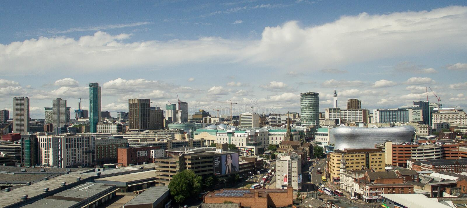 Photo of Birmingham, United kingdom made by drone. Birmingham`s city centre in Summer 2018 stock photography