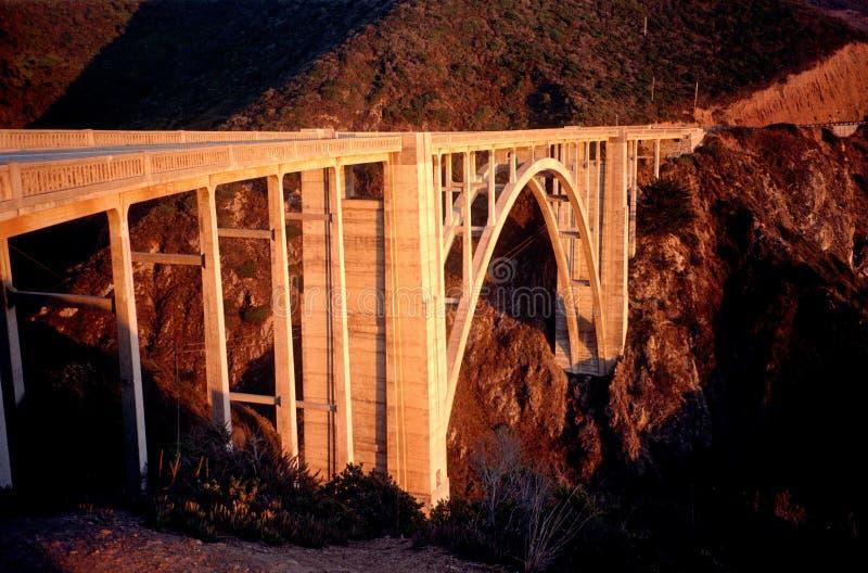 Bixby Bridge at Sunset in California stock photo
