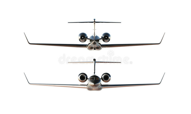 Photo Black Glossy Luxury Generic Design Private Airplane Model. Clear Mockup Isolated Blank White Background.Business. Travel Picture.Left Right Side View stock images