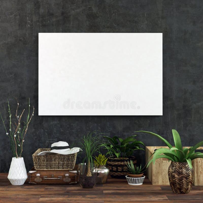 Photo blanche vide sur le mur foncé au-dessus des plantes d'intérieur illustration libre de droits