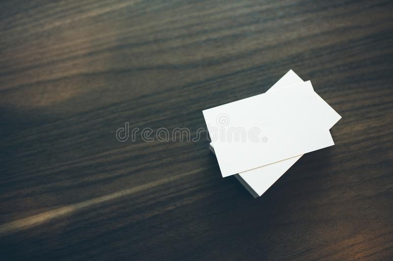 Photo of blank business cards royalty free stock photography