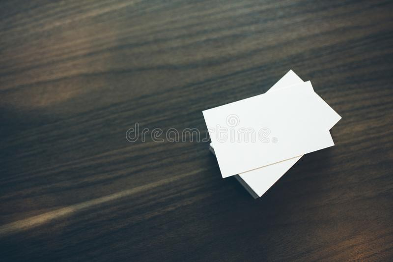 Photo of blank business cards Mock-up for branding stock image