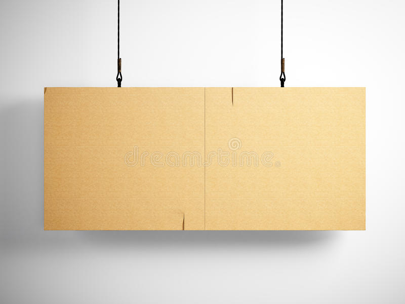 Photo of blank craft canvas hanging on the white background. 3d render royalty free illustration