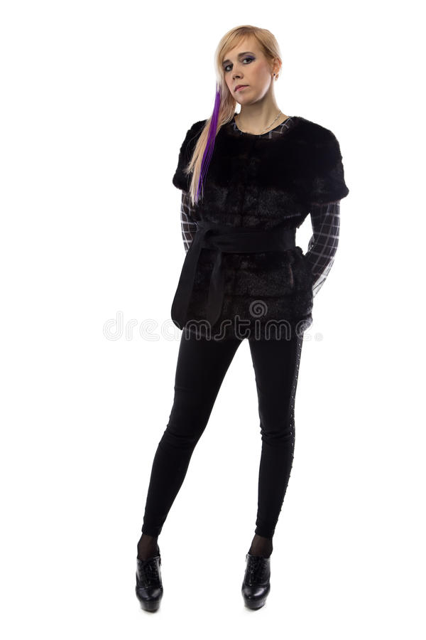 Photo of blonde in black jacket, hands behind back stock photos