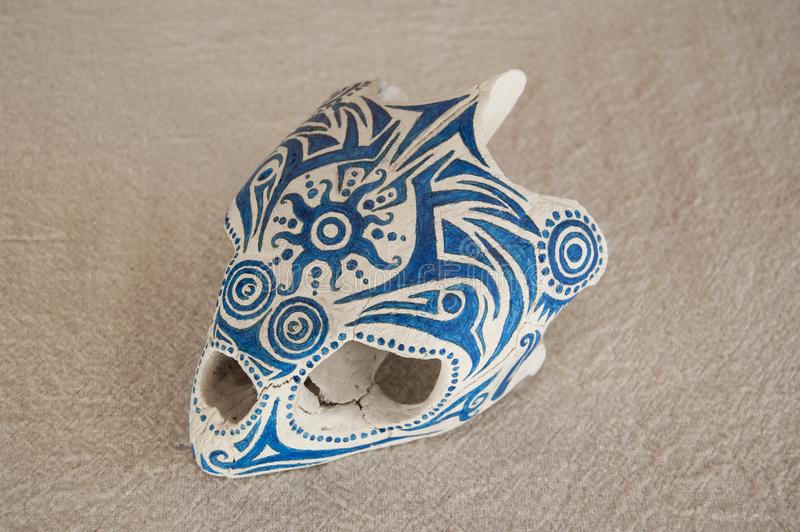 Blue symbols painted on a Caretta skull left hand side view. Photo of a blue symbols painted on a Caretta skull left hand side view royalty free stock photo