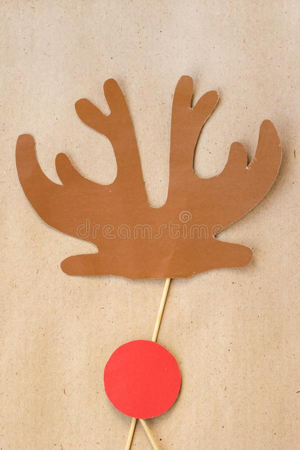 Photo booth colorful props for christmas party - antler and red nose royalty free stock photography