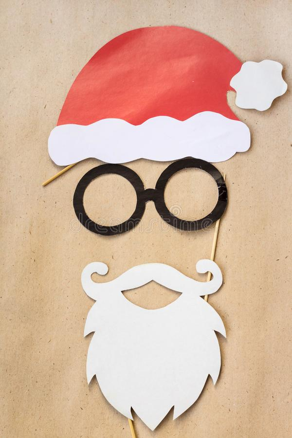 Photo booth colorful props for christmas party - mustache, santa claus, glasses, hat stock images