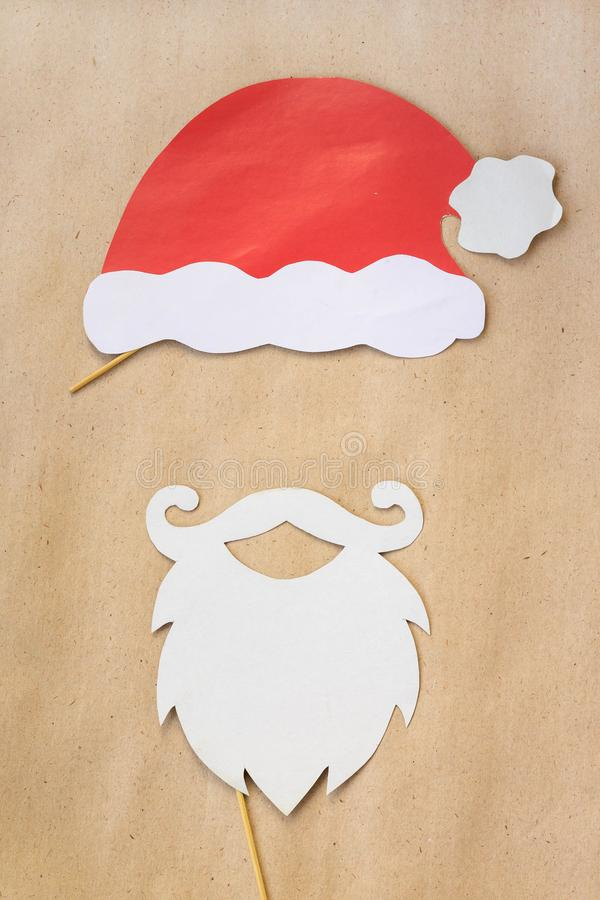 Photo booth colorful props for christmas party - mustache, santa claus, hat stock photography