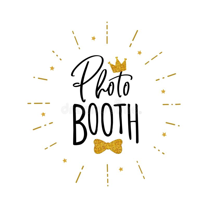 Photo booth props sign. Photo booth lettering. Design in hipster style. Hand drawn words on white background. Sign for wedding photo booth props. Icon with stock illustration
