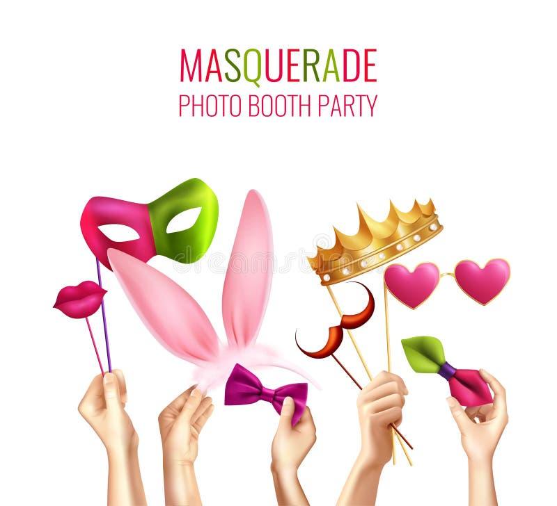 Photo Booth Masquerade Background stock illustration