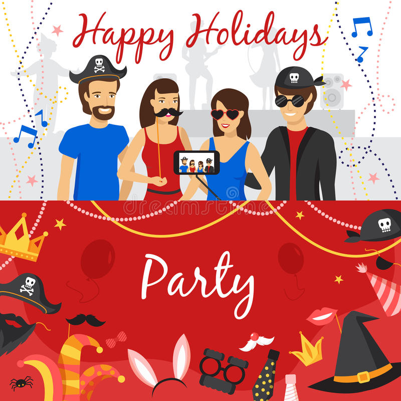 Photo Booth Party Banners Set vector illustration