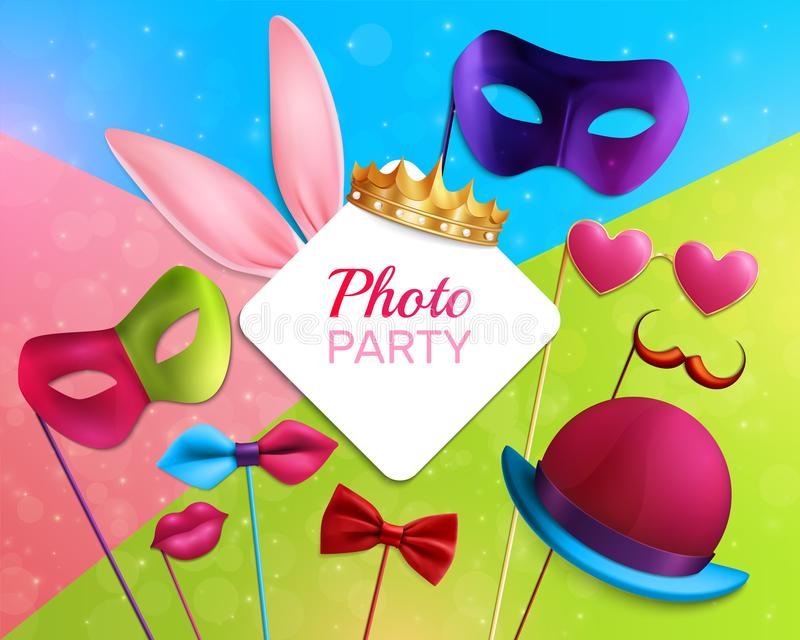 Photo Booth Party 3D Composition royalty free illustration