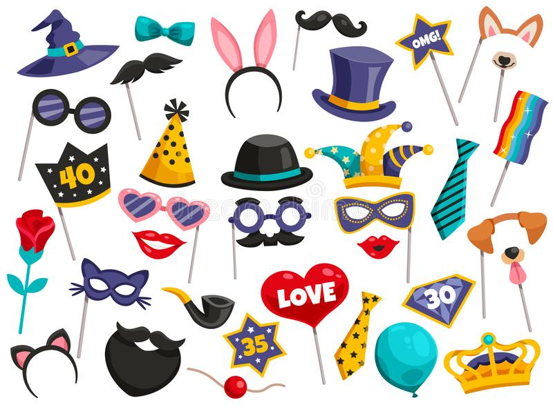 Photo Booth Party Icon Set vector illustration