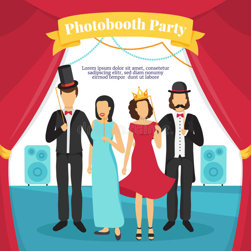 Photo Booth Party Illustration royalty free illustration
