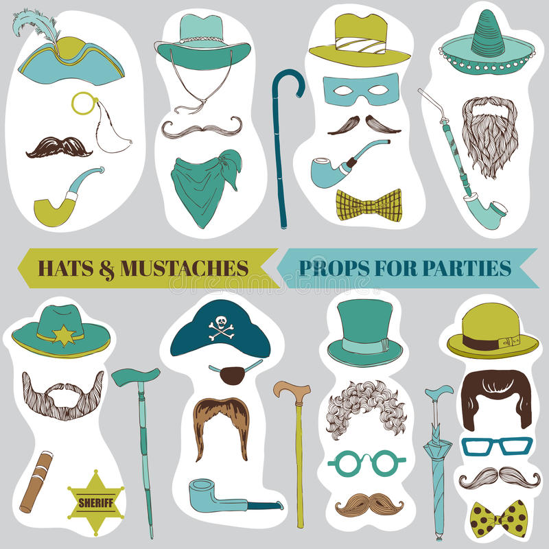 Photo Booth Party set. Glasses, hats, lips, mustache, masks - in vector illustration