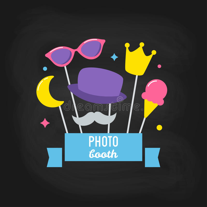 Photo Booth Props on Chalkboard Background. Vector Design stock illustration
