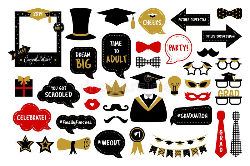 Photo booth props for graduation party photobooth royalty free stock photos