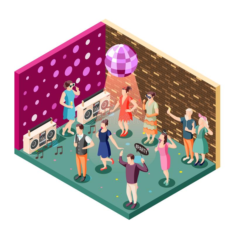 Photo Booth Props Isometric Composition royalty free illustration