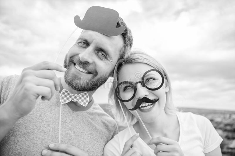 Photo booth props. Man with beard and woman having fun party. Add some fun. Making funny photos birthday party. Just for. Photo booth props. Man with beard and stock photography