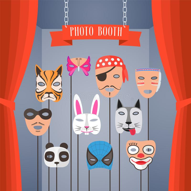 Photo booth props with masks for children vector vector illustration
