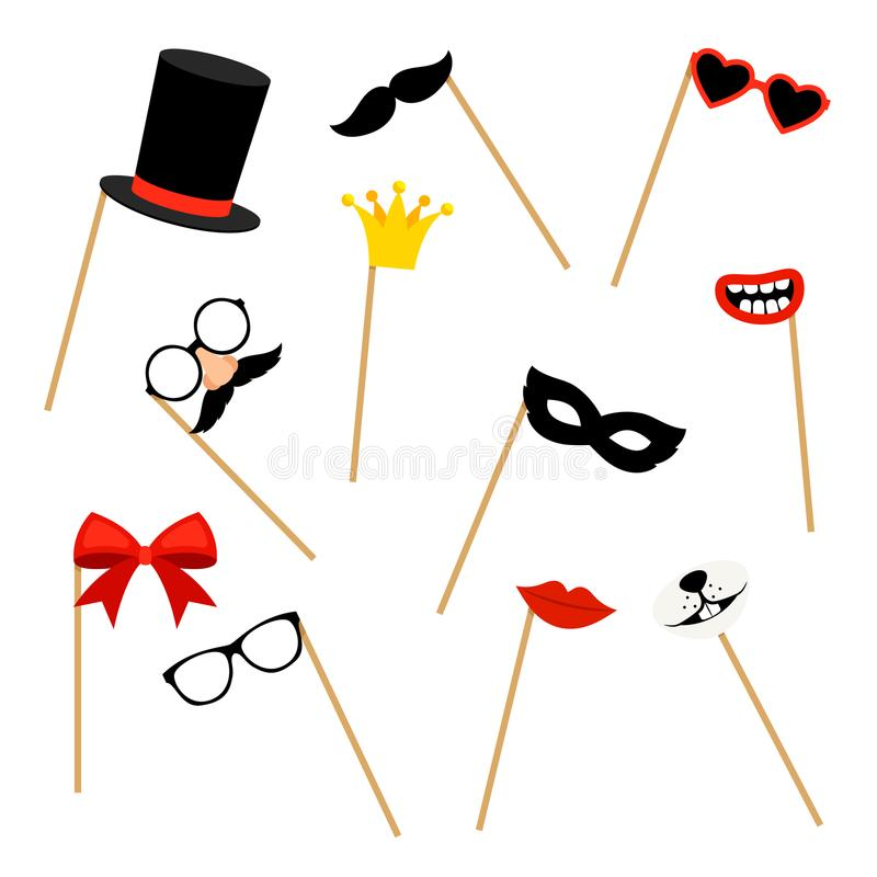 Photo booth props royalty free illustration