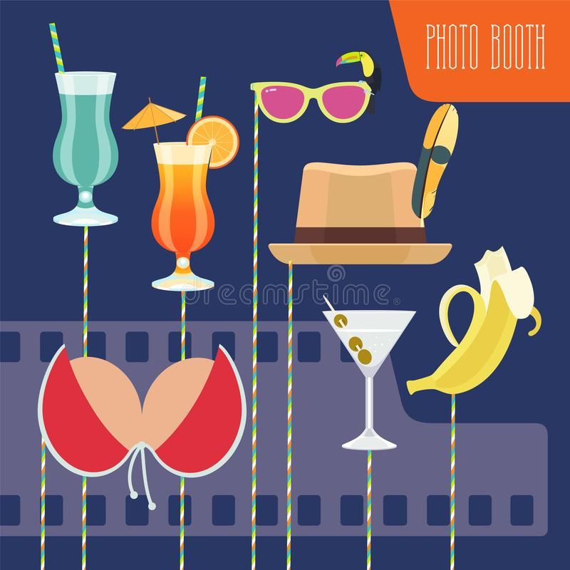 Photo booth props set vector illustration. Photo booth printable props set vector illustration. Collection of icons on stick with tropics style party design royalty free illustration