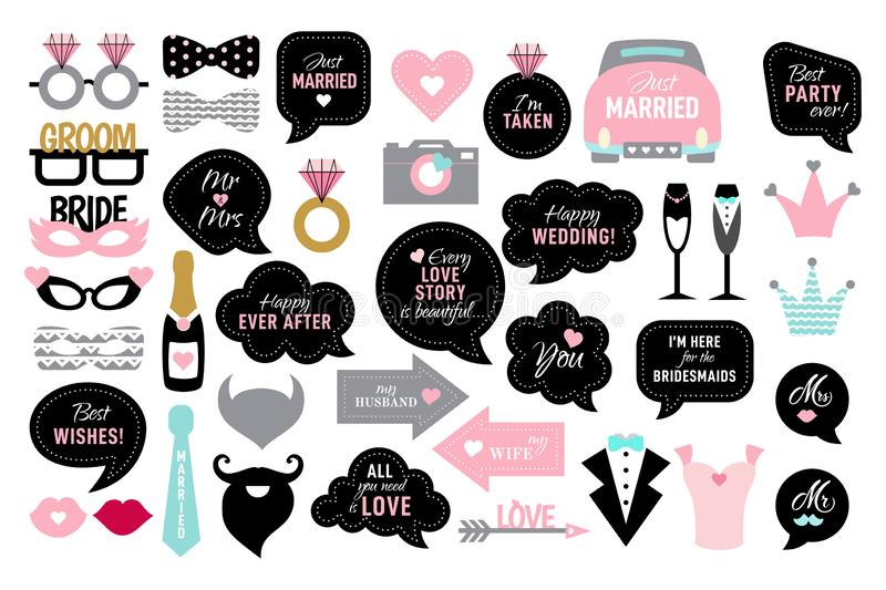 Photo booth props for wedding party bride stock image