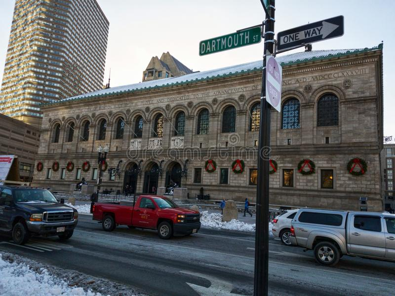 Boston Public Library Foundation building in winter. Photo of the Boston Public Library Foundation building, Boston, MA, USA captured in winter. There are a royalty free stock photos