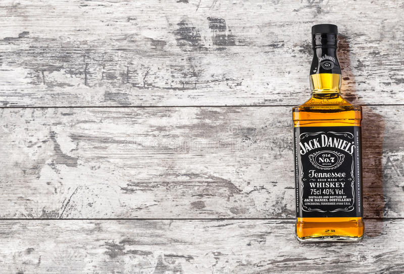 .Photo of bottle of. CHISINAU, MOLDOVA- November 14. 2015.Photo of bottle of Jack Daniel's Tennessee whiskey.Jack Daniel's is a brand of sour mash stock photography
