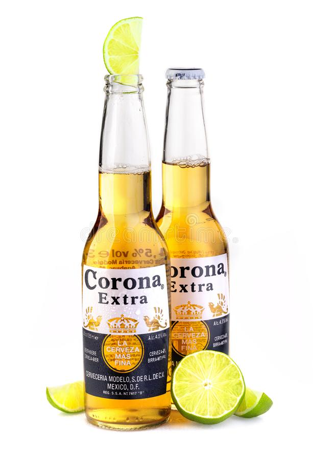 Photo of a bottle of Corona Extra Beer. CHISINAU, MOLDOVA - January 19, 2018: Photo of a bottle of Corona Extra Beer. Corona, produced by Grupo Modelo with royalty free stock photos