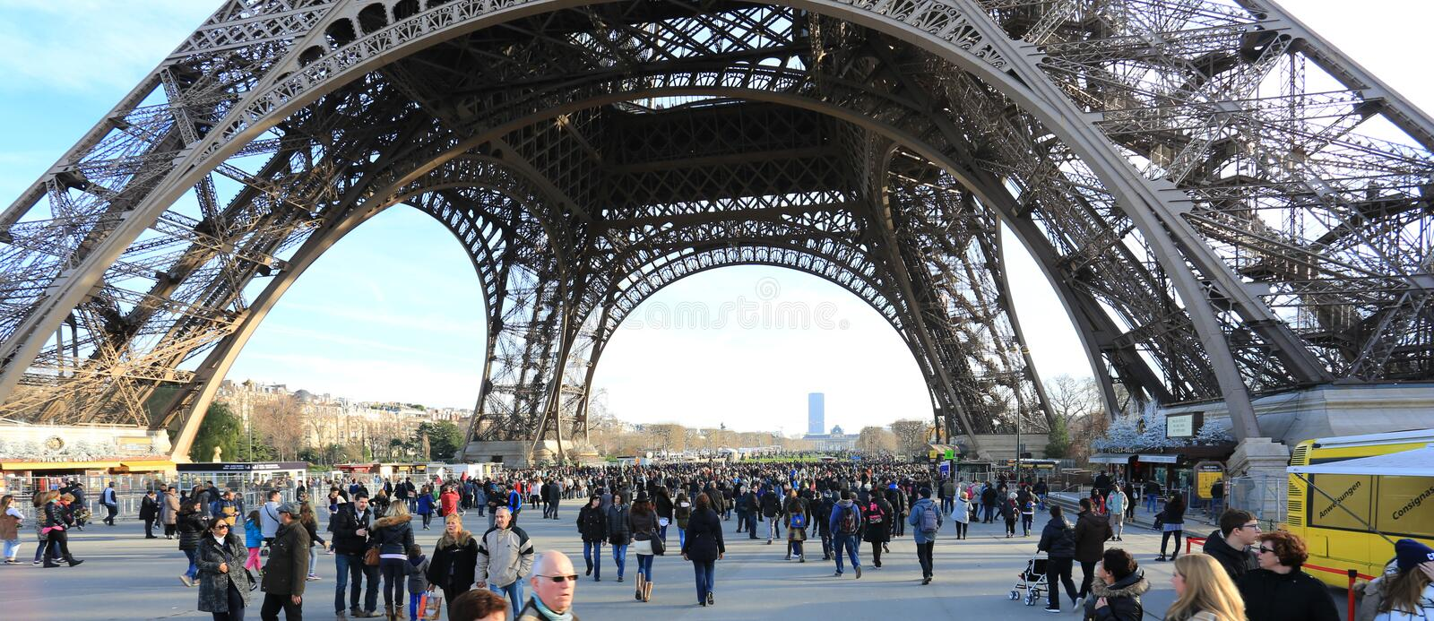 Photo Of the Bottome half of Eiffel Tower stock photos